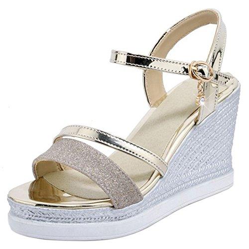 COOLCEPT Damen Elegant Knochelriemchen Sandalen Hoch Keilabsatz Open Toe Slingback Schuhe Gr Gold