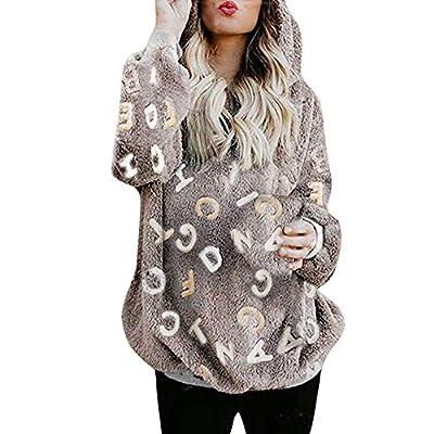 NUWFOR Outwear Coat Womens Fuzzy Open Front Hooded Cardigan Faux Fur Pocket Warm Jacket White