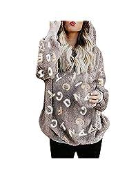 Women's Stand Collar Sherpa Pile Pullover Tops Unisex Fleece Sweatshirt