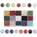 PandaHall 3600PCS 15 Colori 4mm Perline di Vetro Perline Colorate Perline Rotondo per Fare Gioielli Fai Da Te, Colore Misto, foro: 0.8mm, circa 240pcs / colore, 3600pcs / box