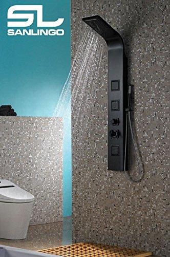 Alluminio Colonna Doccia a pioggia Massaggio Cascata Nero Opaco Sanlingo