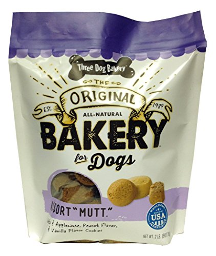 51q5UizmZfL - Three Dog Bakery Mutt Assortment Oats Applesauce Peanut & Vanilla Flavor Cookies (1 Pack), 2 lb