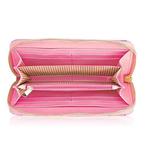 Para mujer elegante monedero Ladies Nueva funda Monedero tarjeta de Crédito Titular C - Pink