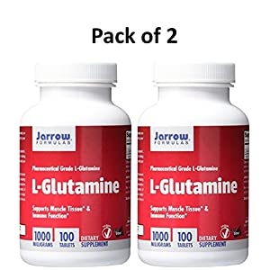 Jarrow Formulations Jarrow L glutamine , Supports Muscle Tissue & Immune Function, 1000 mg, 200 Easy Solv Tabs