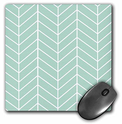 3dRose LLC 8 x 8 x 0.25 Inches Mouse Pad, Mint Green Herringbone Pattern - Trendy Arrow Feather Inspired Design - - Herringbone Trendy