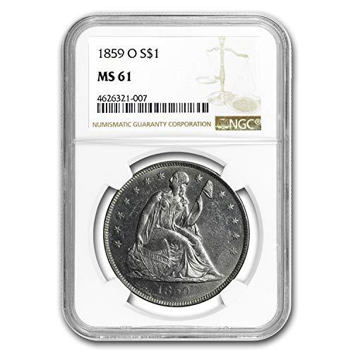 1859 O Liberty Seated Dollar MS-61 NGC Silver MS-61 NGC ()