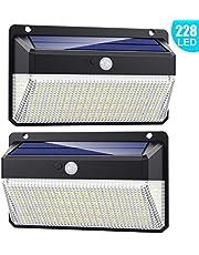 Lampe Solaire Extérieur 228 LED, Trswyop [2Pack-2000Lumiere-2200mah] Détecteur de Mouvement éclairage Solaire Puissante étanche Sans Fil Spot Solaire Extérieur Lumière Sécurité pour Cour Jardin