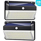 228 LED Solar Lights Outdoor, Trswyop 【Enhanced Version 2000 Lumens】 Solar Motion Sensor Security Lights with 270° Wide Angle, 3 Intelligent Mode Waterproof Solar Powered Lights Wall Lights (2 Pack)