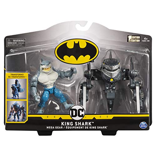 BATMAN, 4-Inch King Shark Mega Gear Deluxe Action Figure with Transforming Armor