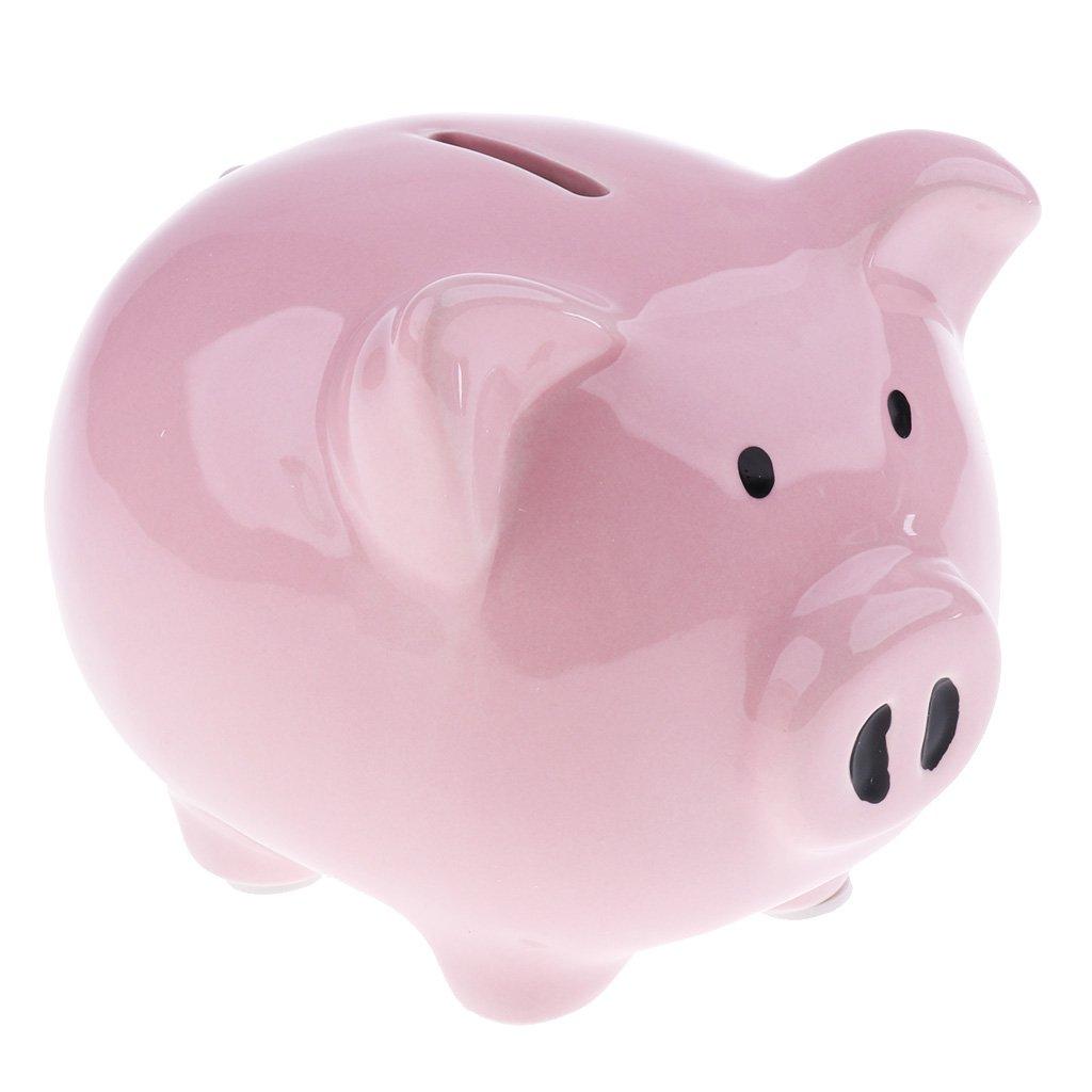 as described Homyl Piggy Bank Money Box Pig Shaped Piggy Coin Bank Money Saving Box For Kids Medium-White