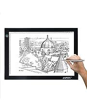AGPTEK Legere Tablette Lumineuse avec Luminosité Réglable Précise LED Pad Ultre-Mince avec Cable USB Planche à Dessin pour Dessiner Croquis Esquisse Architecture Calligraphie