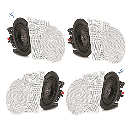 "Speaker Impedance Match - Pyle 8"" 4 Bluetooth Flush Mount In-wall In-ceiling 2-Way Speaker System Quick Connections Changeable Round/Square Grill Polypropylene Cone & Tweeter Stereo Sound 4 Ch Amplifier 250 Watt (PDICBT286)"