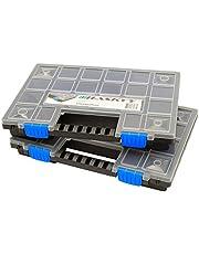 2x XL Organizer Assortimentskist sorteerbox stapelbaar 345x249x50mm I kleine onderdelen magazijn I schroefbox I gereedschapskist I assortimentdoos