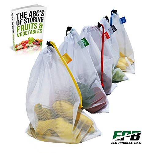 Eco Produce Bag OTHER Home Small Public Premium Mesh, Set of 5 Draw String with Color Tags, Work Great as Reusable, Toy, Travel, Also Bonus EB, 5