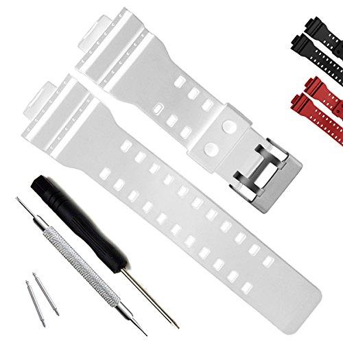 Natural Resin Replacement Watch Band Strap for Casio Mens G-Shock GD120/GA-100/GA-110/GA-100C (White)