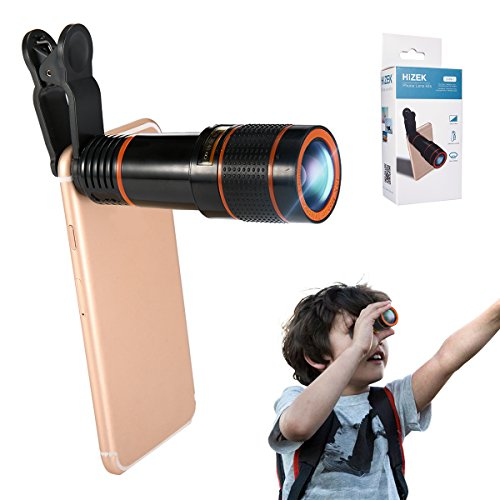 Phone Camera Lens Kit, Hizek 12X Universal Optical Zoom Lens Marco Lens Focus Telescope with Clip and Eyecups for iPhone X/8/8Plus/7/7 Plus/6s/6/5, Samsung and Most Smartphones