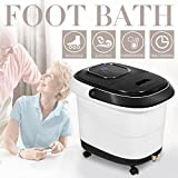Natsukage All-in-one Foot Spa Bath Massager with Heat, Rolling Massage, Digital Temperature Control LED Display (LY-809(Black))