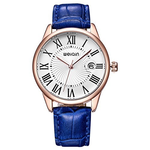 JIANGYUYAN Glass Date Fashion Watches Women Rose Gold Case Leather Strap Watch Ladies black wrist watches Blue (14k Gold Watch Leather Strap)