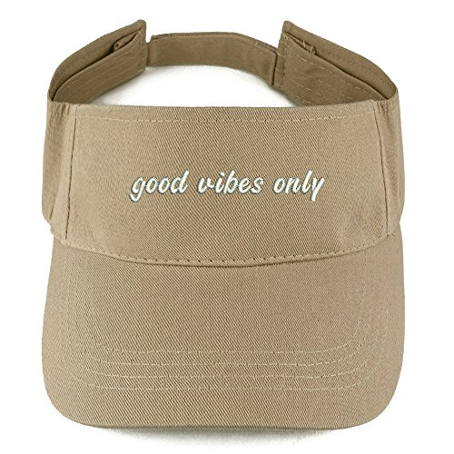 Trendy Apparel Shop Good Vibes Only Embroidered 100% Cotton Adjustable Visor - Khaki (Cotton Embroidered Visor)