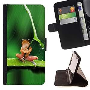 For Apple iPhone 5C Case , Paraguas rana Pensamiento triste lindo- la tarjeta de Crédito Slots PU Funda de cuero Monedero caso cubierta de piel