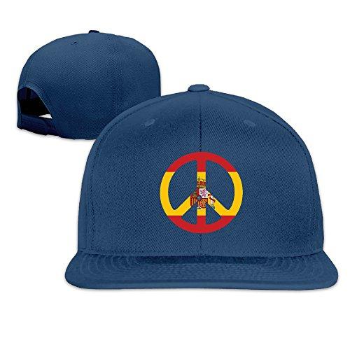 Unisex Spain Peace Symbol Flag Adjustable Snapback Baseball Caps 100%cotton Navy One Size