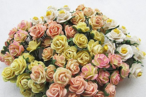 100 pcs mini Rose conflicting Yellow color Mulberry Paper Flower 10 mm scrapbooking wedding doll house supplies card by iDONO