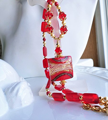 Red Murano Pendant Necklace Glass by H&H Jewelry Designs