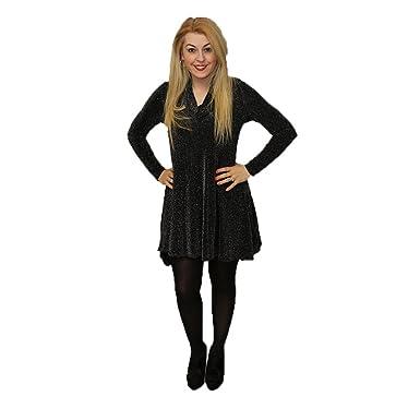 f74ff609c09c SendIt4Me Black Glittery Cowl Neck Swing Dress: Amazon.co.uk: Clothing