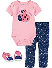 Baby Girls' 3 Piece Pant Set With Soft Sole Sneakers and Bodysuit With Rear Snaps