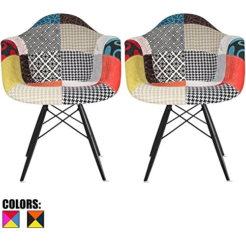 2xhome Set of 2 Multi-Color Modern Upholstered Molded Armchair Fabric Chair Patchwork Multi-Pattern Dark Black Wood Wooden Leg Eiffel Dining Room Industrial Desk Accent Living Bedroom ()