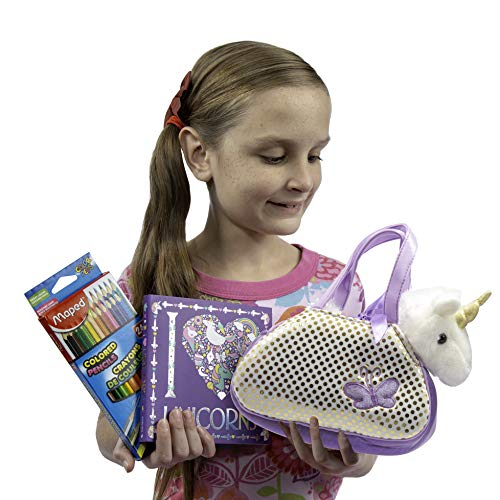 Always Moore Unicorn Gift Set for Girls Includes Cuddly Plush Unicorn Toy in its Own Sparkly Purse, a Beautiful I Heart Unicorns Coloring Book, and Triangular Ergonomic Colored Pencils ()