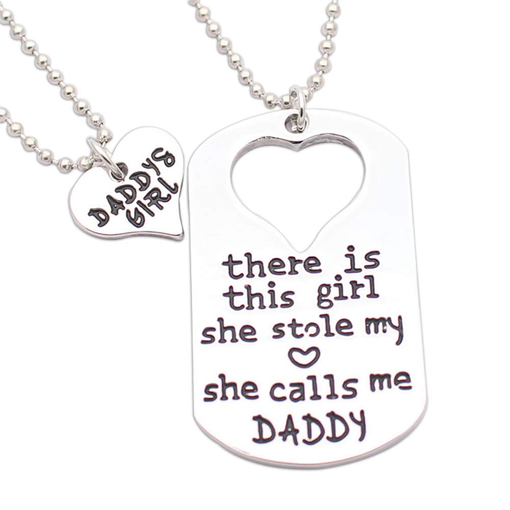 Lily.Pie 2 Piece Heart Pendant Charm Necklace Set Daddy's Mommy's Girl Puzzle Rectangle Heart Matching Necklace Jewelry Set Best Gift for Family Birthday (Daddy's with Girl)