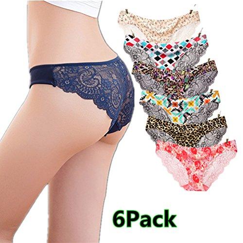 Mercea Women's Briefs Panties Low Waist Crotch Cotton Healthy Underwear Hipster 6 Pack (Tag M, E4 Set) (Waist Low Hipster)