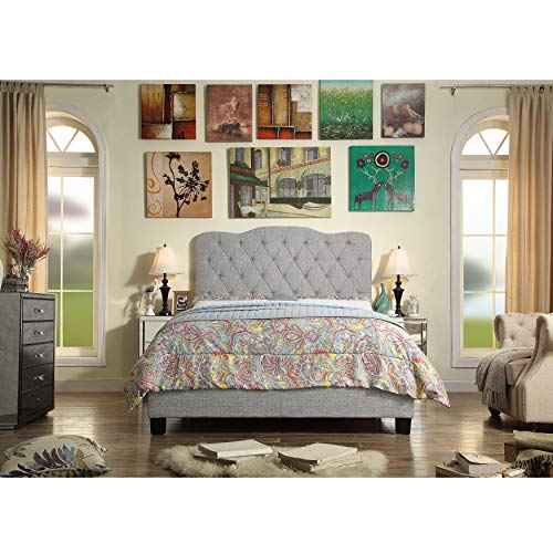 Millbury Home Elian Linen Upholstery Platform Bed, Grey, Full