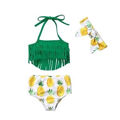 3af99be045701 Hicisidis 3Pcs/Set Infant Baby Girl Pineapple Swimsuits Halter Tassels Swimwear  Bikini Set with Headband