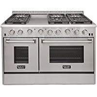 Kucht KRG4804U/LP Professional 48 6.7 cu. ft. Propane Gas Range with Sealed Burners, Griddle and Two Ovens, Stainless-Steel