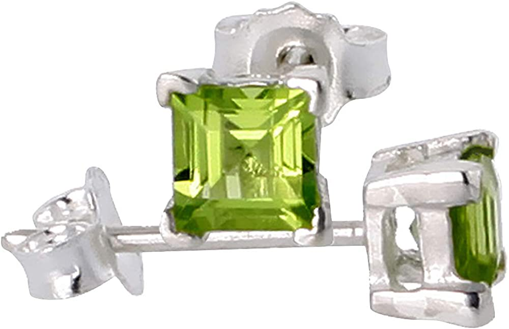 Sterling Silver Genuine Peridot Stud Earrings 4 prong Basket Setting 4-6 mm Princess and Round