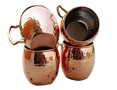 Pure Barrel Handmade Set Street 4 Mule Lined Of Moscow Craft Cup Copper Nickel Handle Mugs Mug Hammered Brass hdxtsrQC