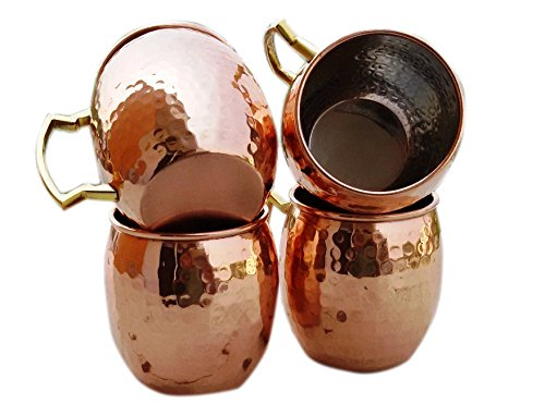 STREET CRAFT Hammered Copper Moscow Mule Mugs Handmade of Pure Copper Brass Handle Barrel Moscow Mule Mug Cup Capacity 16 Ounce with Nickel (Beer Barrel Costume)