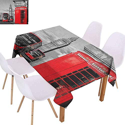 Marilec Waterproof Tablecloth London London Telephone Booth in The Street Traditional Local Cultural Icon England UK Retro Table Decoration W50 xL80 Red Grey]()