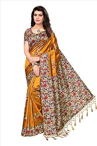 ishin Women's Art Silk/Blended Mysore Silk Printed Saree/Sari With Tassels Free Size Mustard Yellow