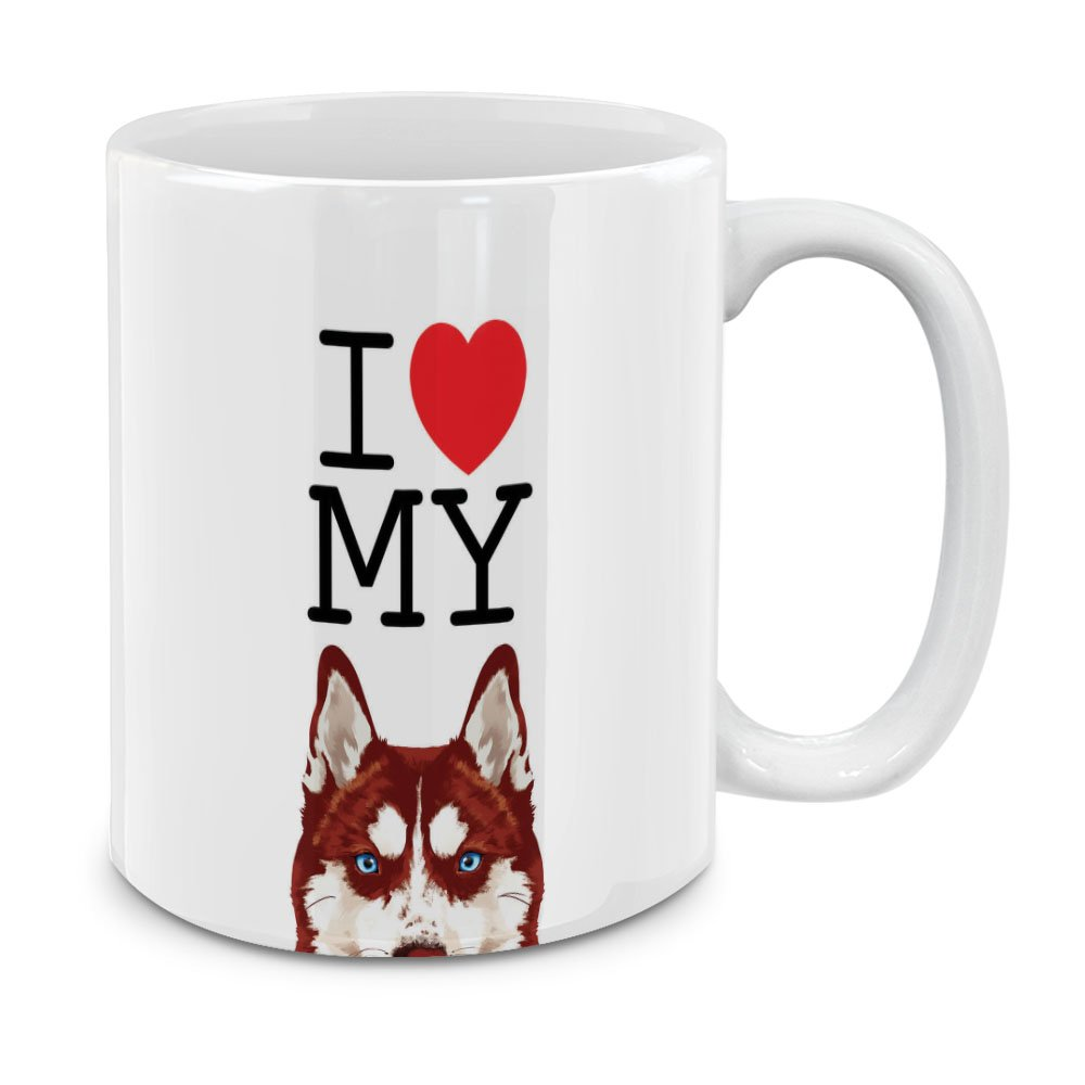 mugbrew I Heart My American Pit Bull子犬犬ホワイトセラミックコーヒーマグティーカップ、11オンス SBMUG0002-A4774 B07DCHH6X8 I Love My Red Siberian Husky Dog I Love My Red Siberian Husky Dog