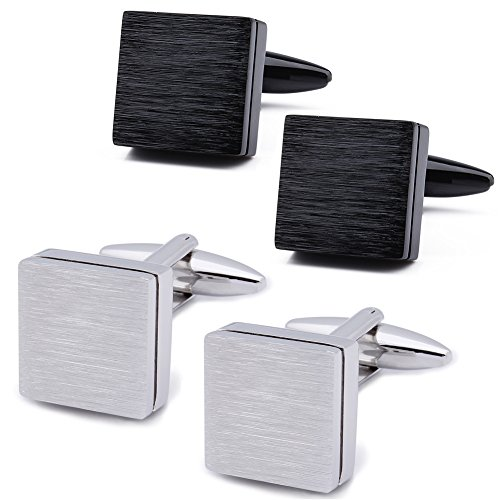 Italian Cufflinks Square - HAWSON Classic Square Brushed Silver Black Cufflinks Set for Man Shirt with Gift Bag