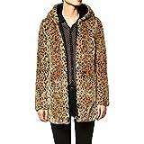 E.JAN1ST Women's Faux Fur Coat Zipper Leopard Print Winter Fleece Hooded Coat, Yellow, US Size S= Tag Size XL