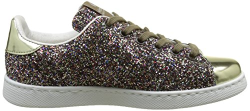 victoria Unisex-Kinder Deportivo Basket Glitter Flach, Silber Multicolore(Multicolor)