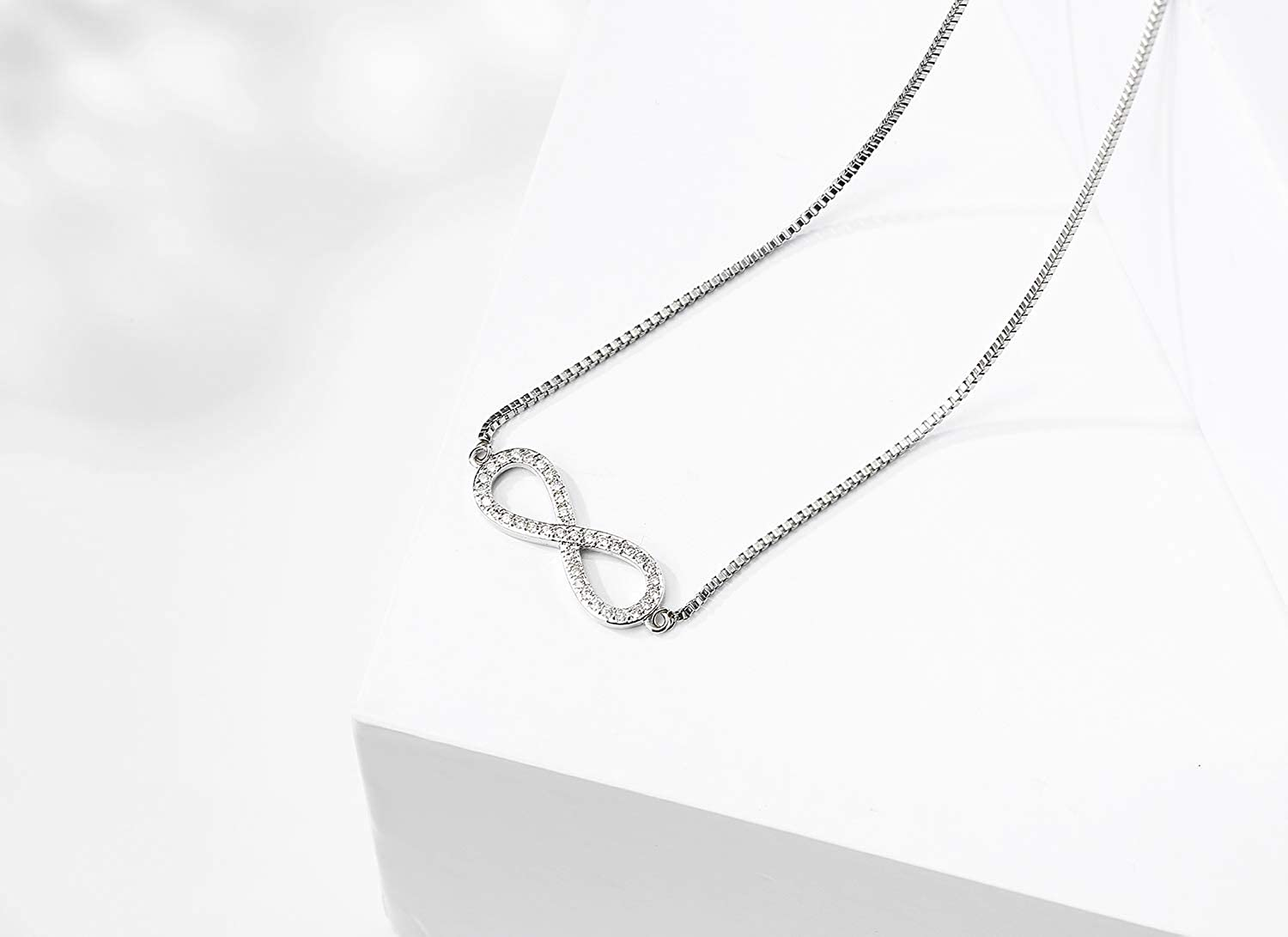 SWEETRAINBOWN Women Infinity Charm Necklace,Gold Plated Pendant Choker Necklace,CZ Pave Setting Jewelry 16 Love Forever
