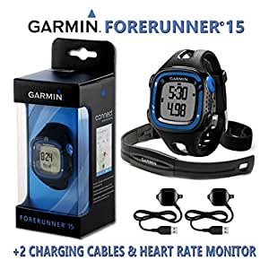 Garmin Forerunner 15 GPS Running Watch / Smart Activity Fitness Tracker - Large, Black & Blue + 2 Charging Data Connect Cables & HRM Heart Rate Monitor