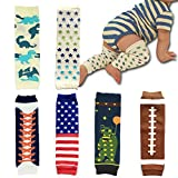 Elesa Miracle 6-pack Baby & Toddler Cozy Soft Leg Warmers, Kneepads, Gift Set for Boys & Girls, Rugby, Car, Rocket, Star, Amarican Flag