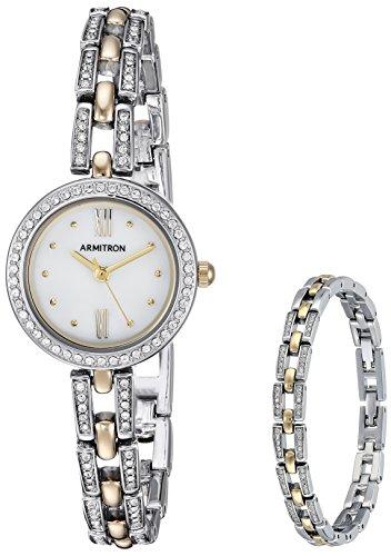Armitron Women's 75/5528MPTTST Swarovski Crystal Accented Two-Tone Watch and Bracelet Set