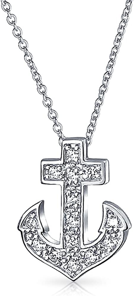 925 Sterling Silver /& Gold-Tone Anchor Brushed Charm Pendant